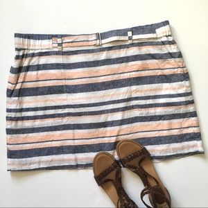 Banana Republic Pink Blue Striped Linen Mini Skirt